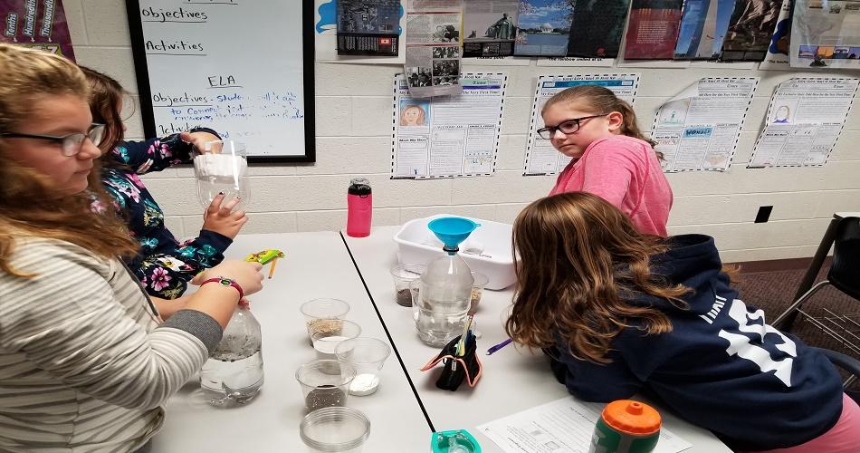Mr. Ettinger's class doing a STEM lesson.