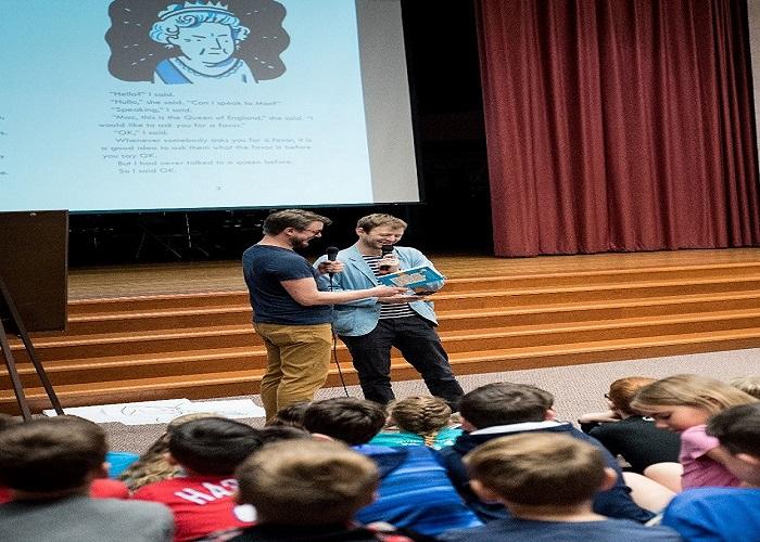 Third graders enjoying author visit  presentation by Mac Barnett & Mike Lowery creators of the Mac B Kids Spy Series