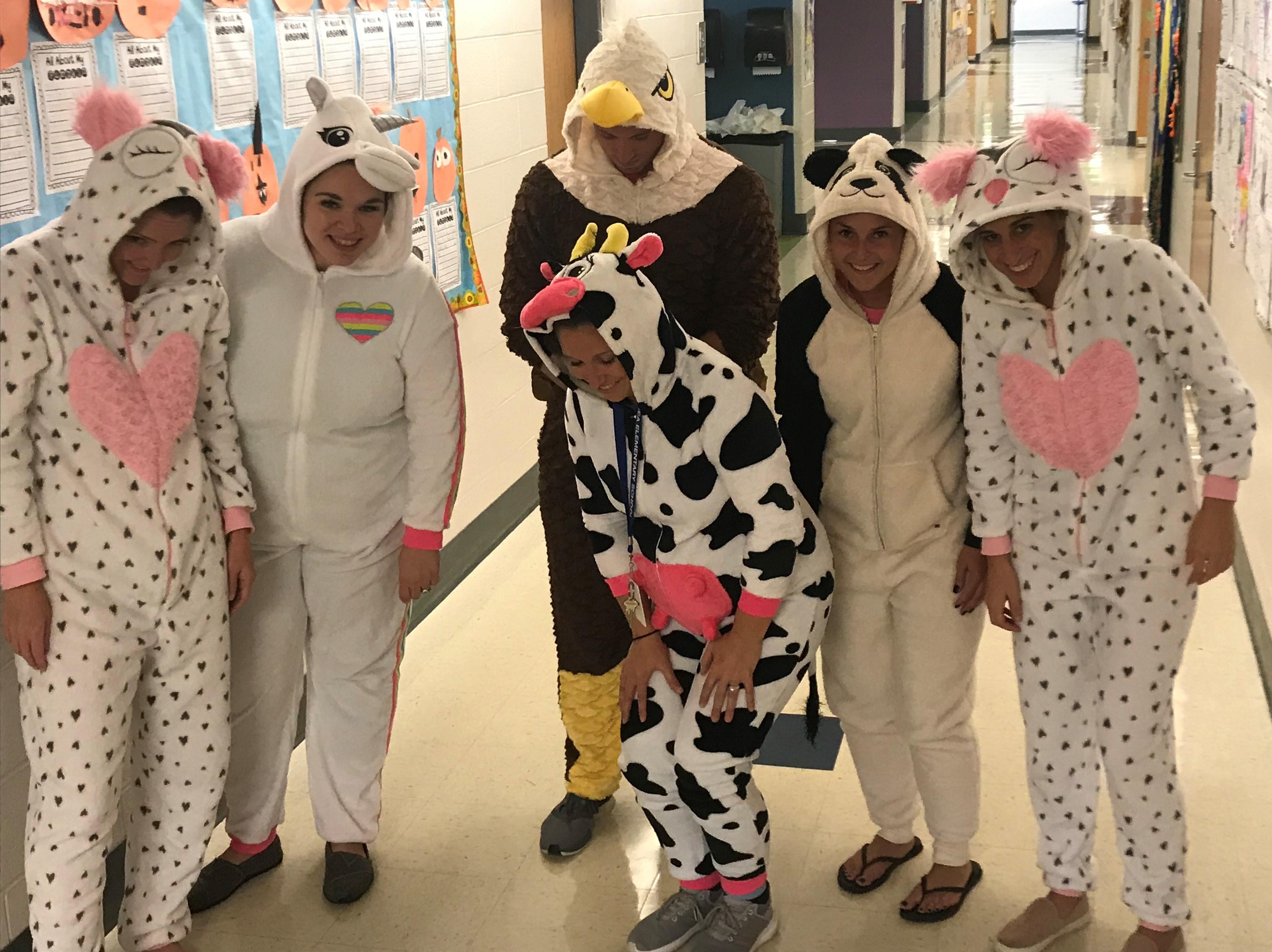 2nd grade teachers wearing pajamas for Pajama Day during Red Ribbon Week