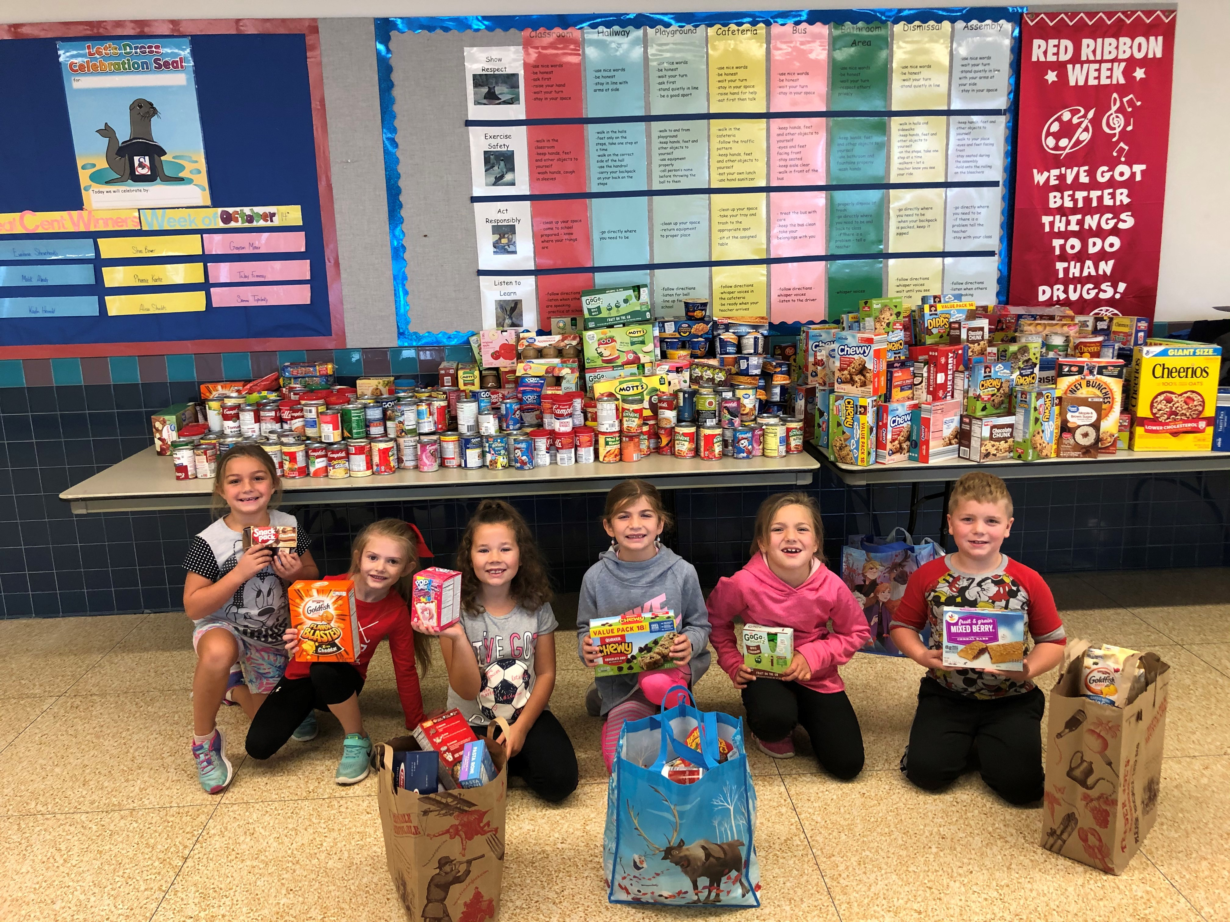 Students collected food donations for the Meals for Seals Program during Red Ribbon Week