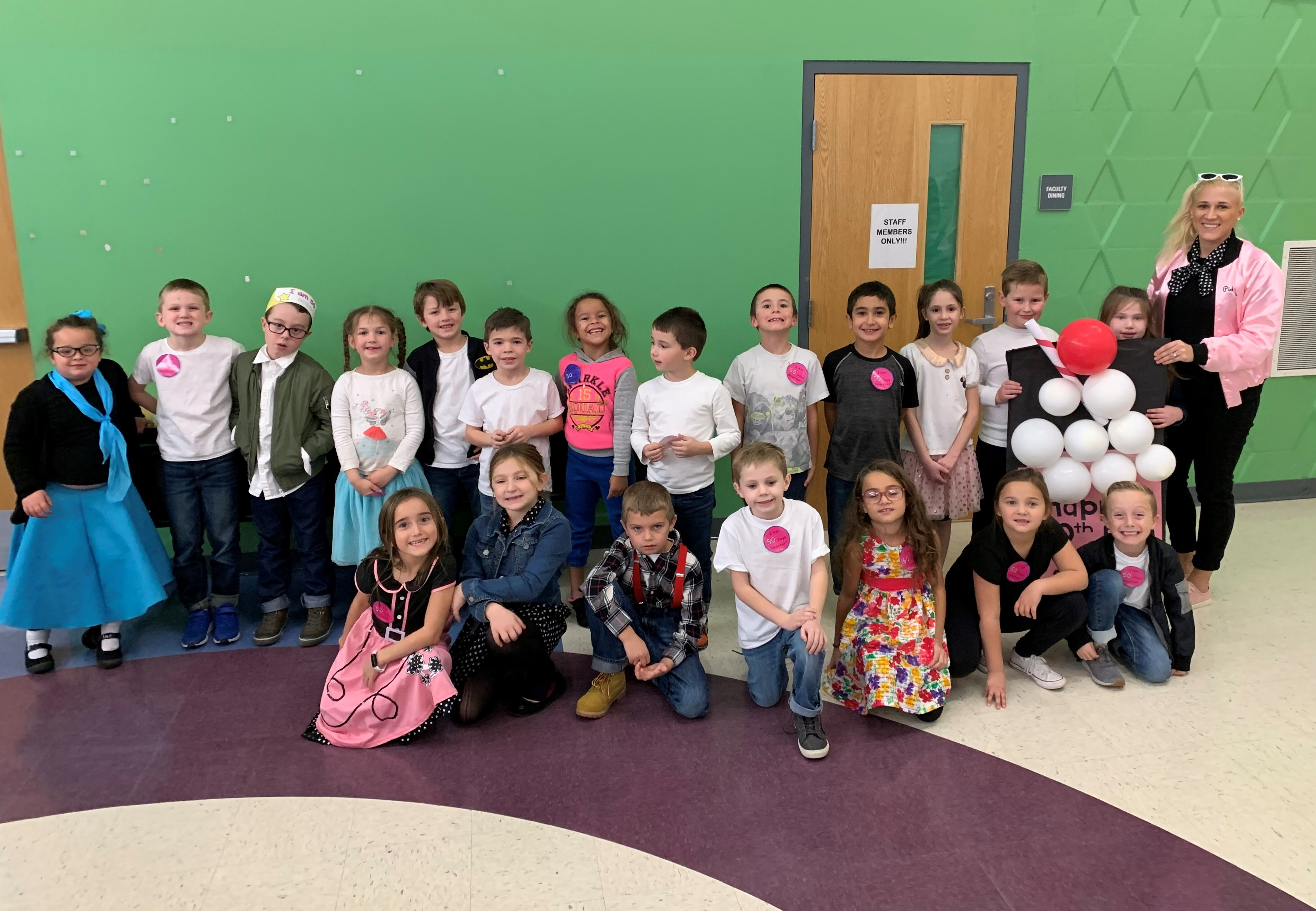Mrs. Snarski's first grade class dressed up like the 1950's to celebrate the 50th day of school