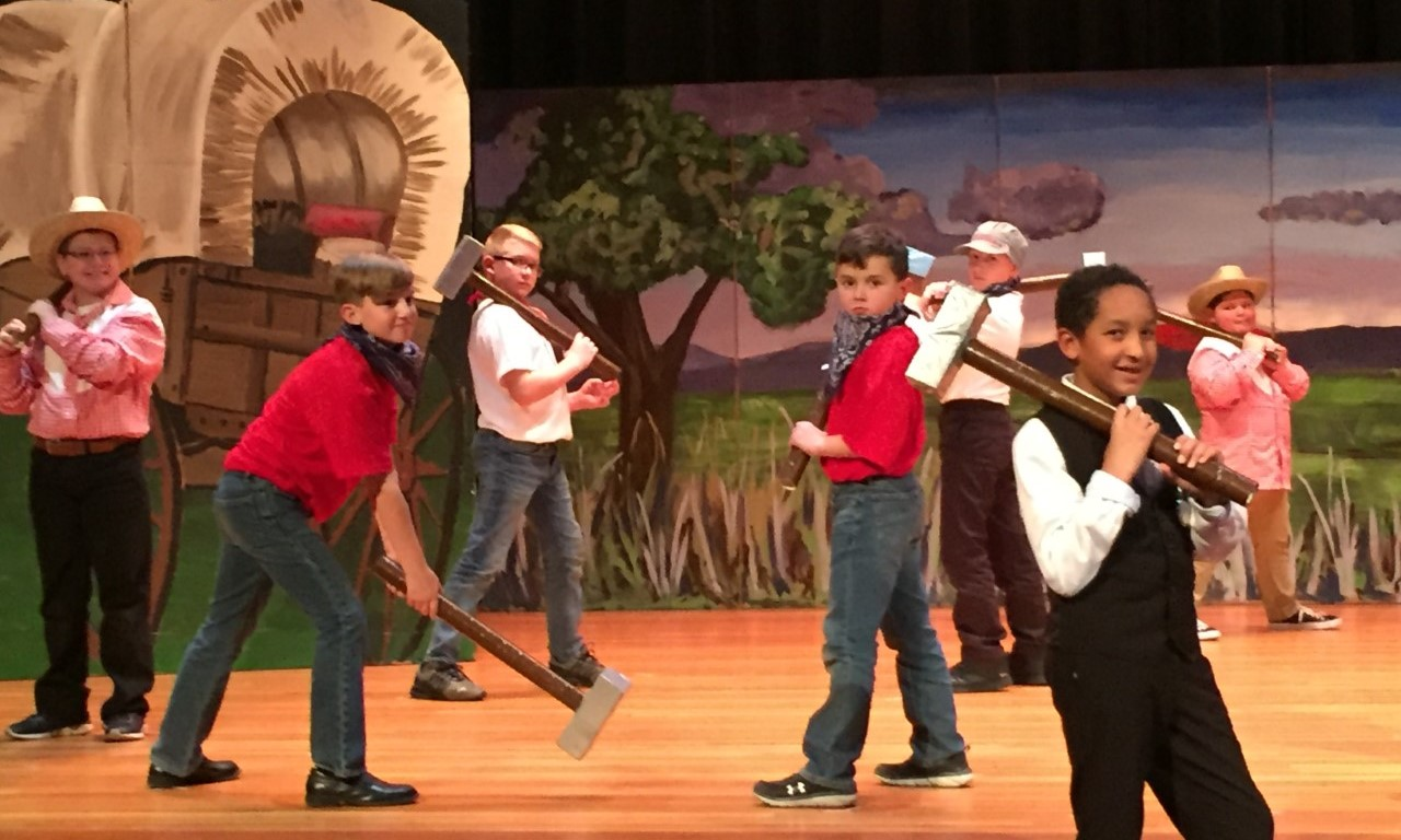 """Boys Singing """"Keep Rolling"""" Song in the 5th Grade Musical """"Go West"""""""
