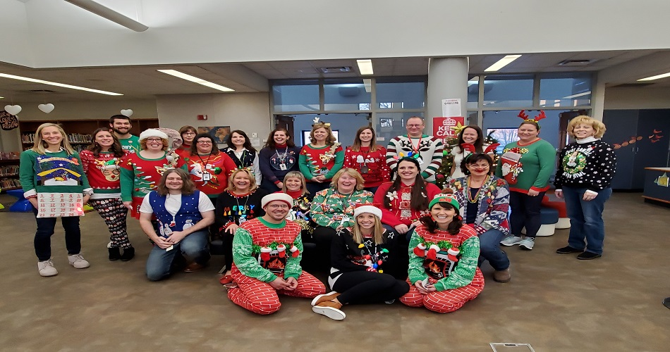 SAIS Ugly Sweater Staff Contest. Fun was had by all.