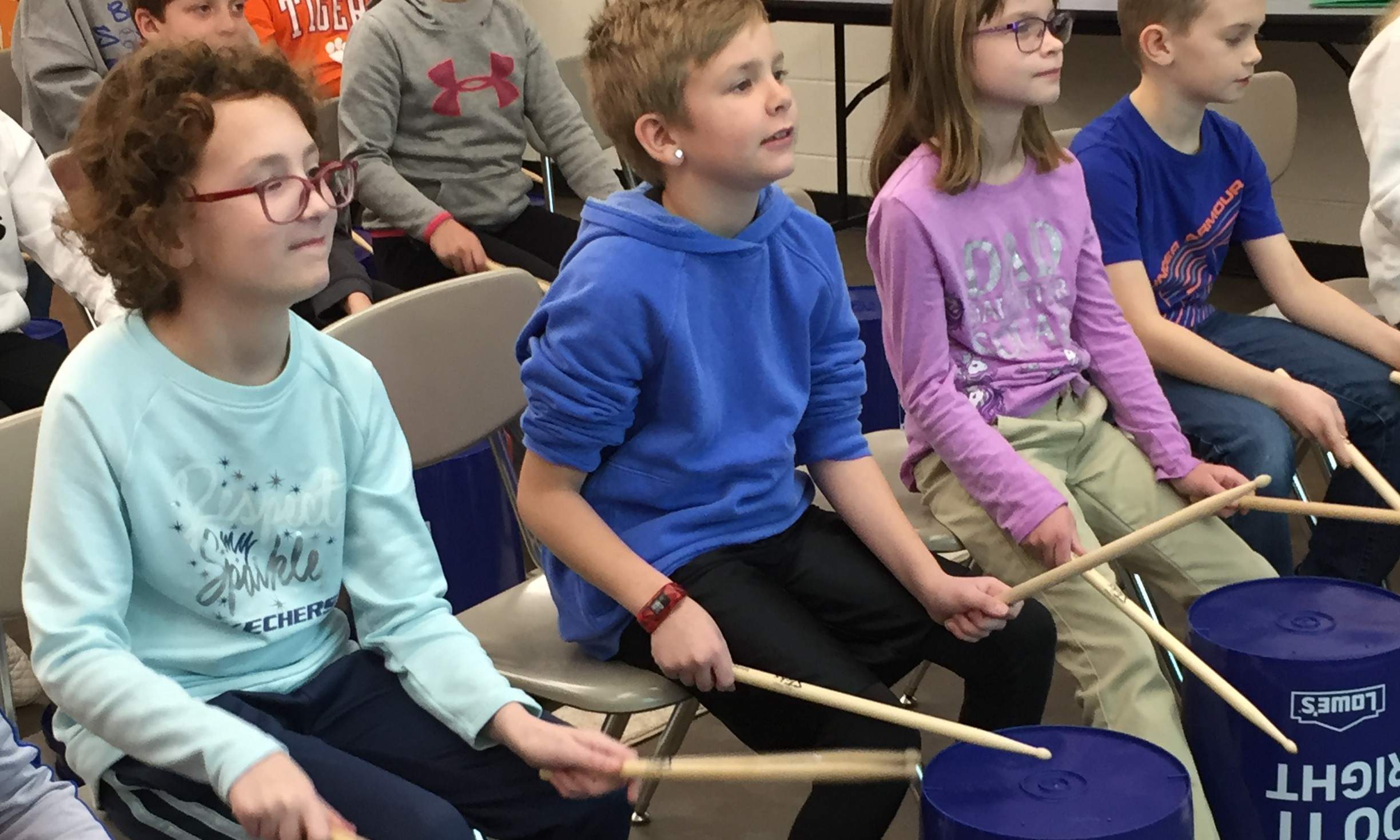 4th Grade Students Experience Bucket Drumming