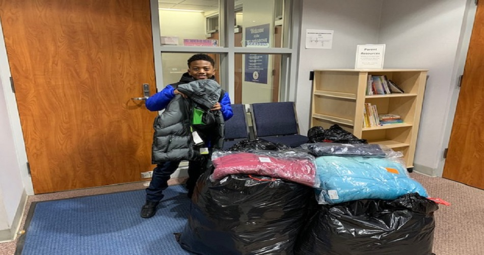 Braylon Massey, a 3rd grade student at SAIS, arranged and carried out a coat drive to benefit those less fortunate. Braylon donated 50+ coats to the SAIS.