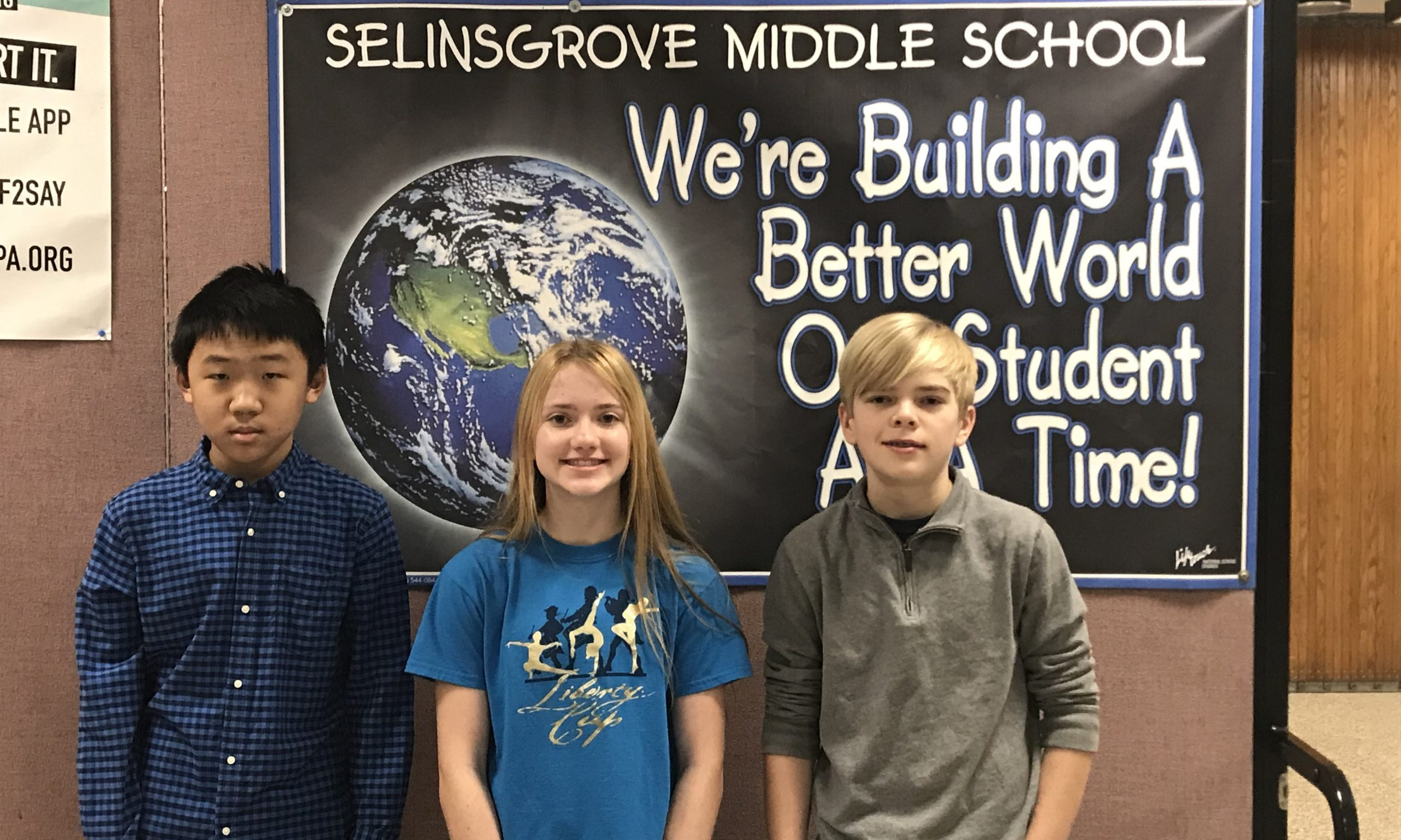Rui Wang (Grade 7), Kendrina Keller (Grade 7) and Emerson Zobal (Grade 8) have advanced to the WITF Grand Championship Oral Spelling Bee in Harrisburg