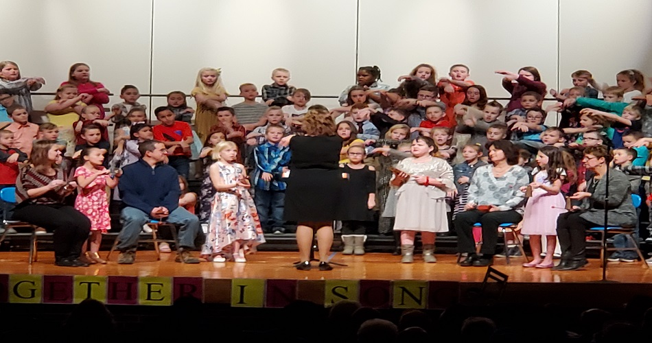 Grade 3 Chorus Concert fun with guest musicians Mrs. Varner, Mr. Moll, Mrs. Briggs and Mrs. O'Malley.