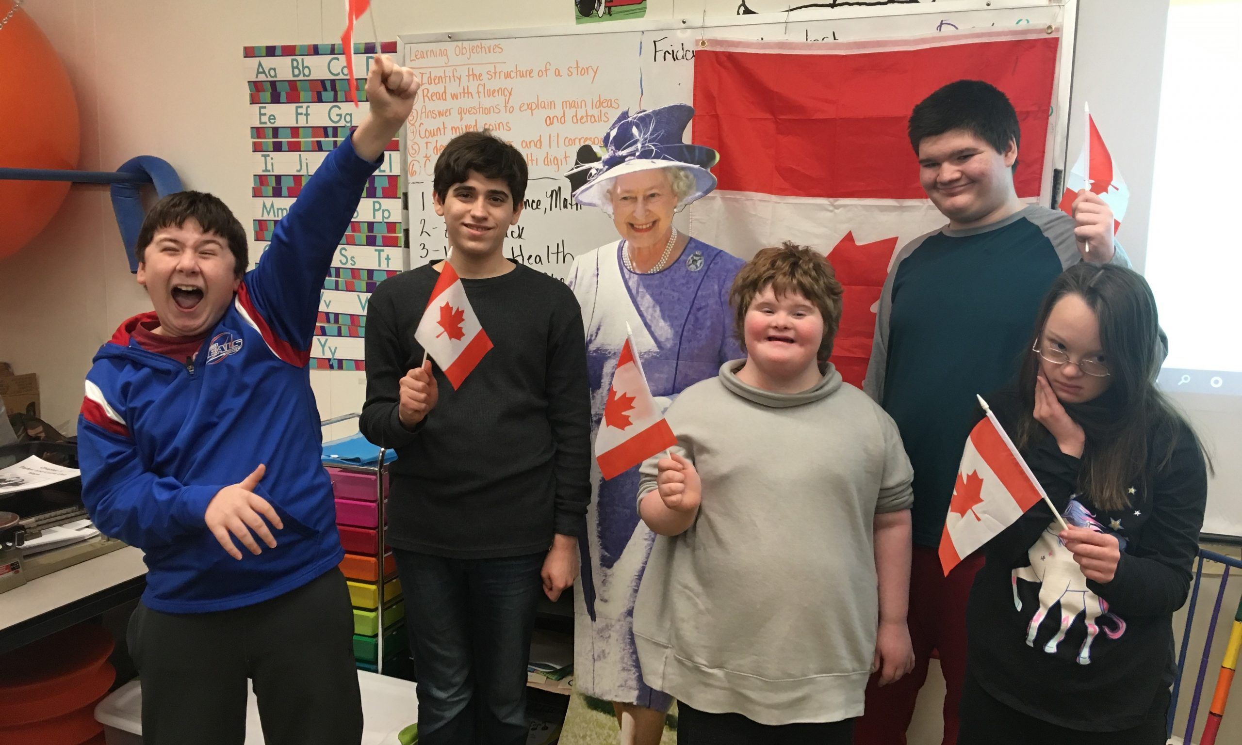 Mrs. Smith's middle school class gets a visit from The Queen of England as they learn about travels in Canada.