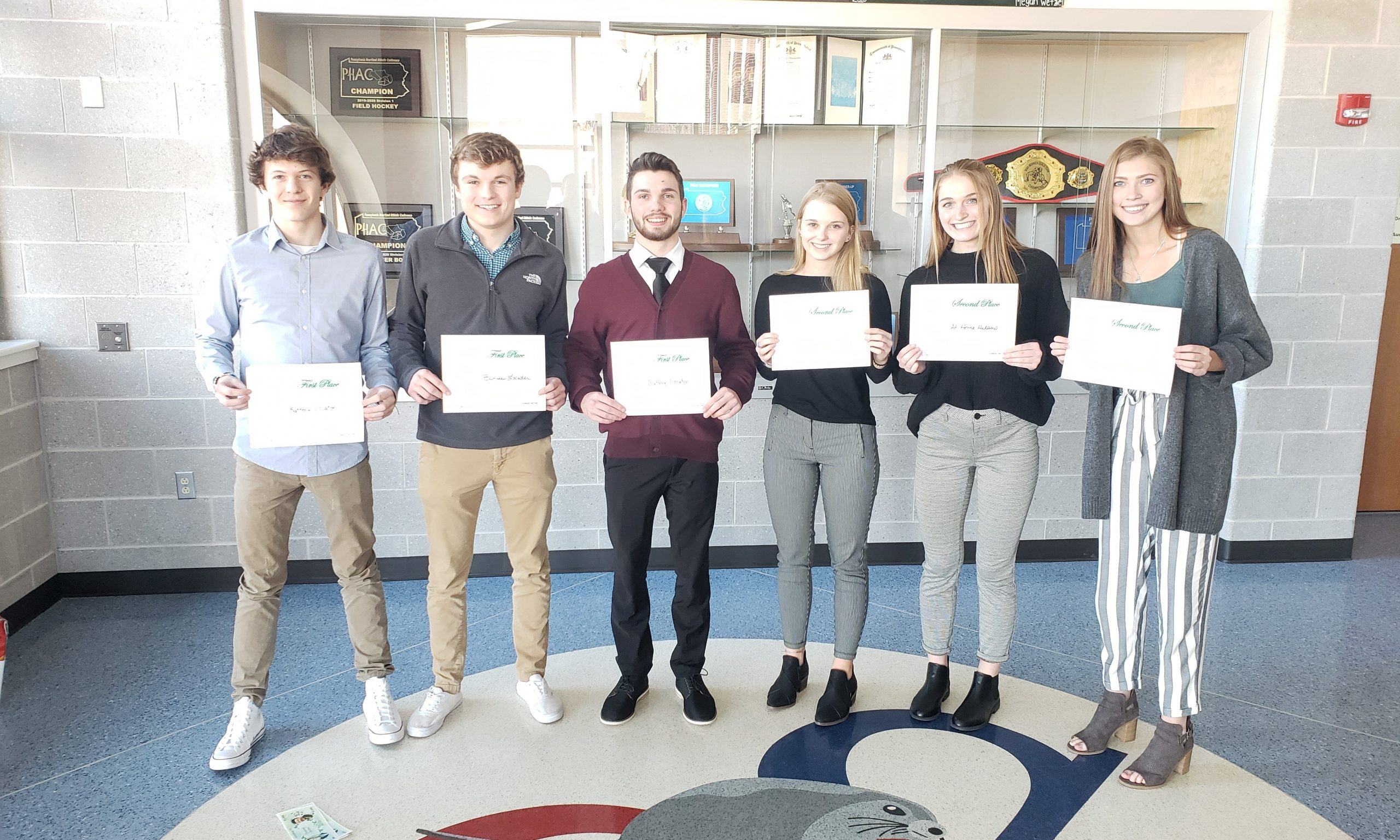 The Entrepreneurship Teams:  Battery Locator (Ben Beiler, Ben Heim, Josh Nylund) and At Home Helpers (Faith Rusesky, Maddie Bucher, Jess Alba) were 1st and 2nd place respectively at the PennCFL Regional Entrepreneurship Challenge