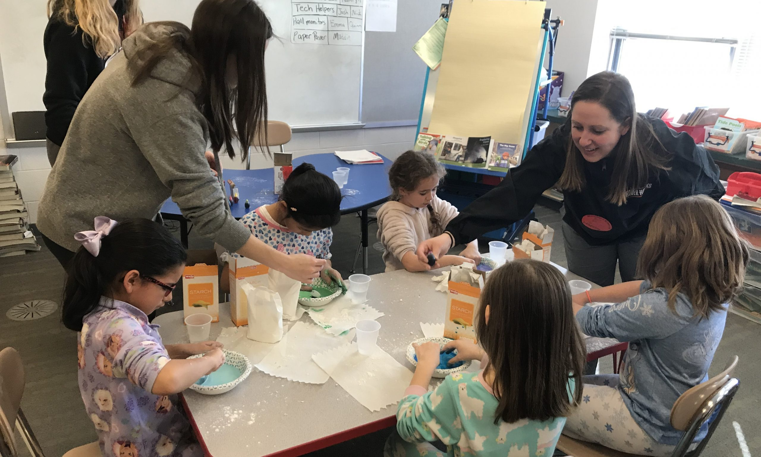 "Making the Oobleck after hearing the book, ""Bartholomew and the Oobleck"" read to them as part of Read Across America week"
