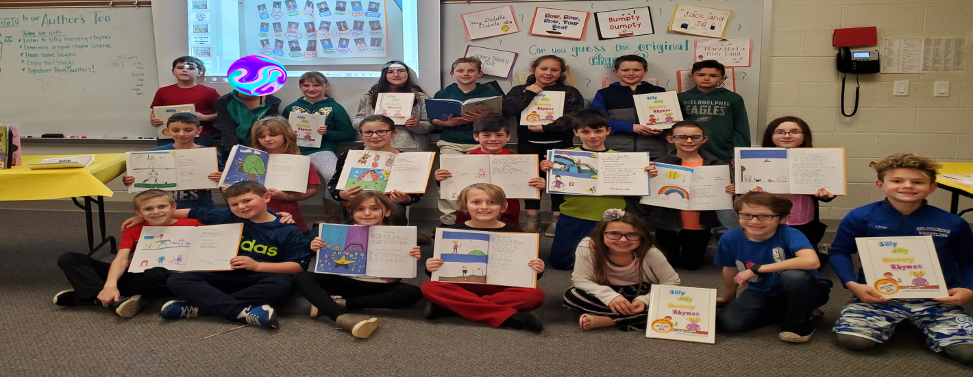 Ms. Wolf's class published a book full of their own silly nursery rhymes. Here they are at the Authors' Tea.