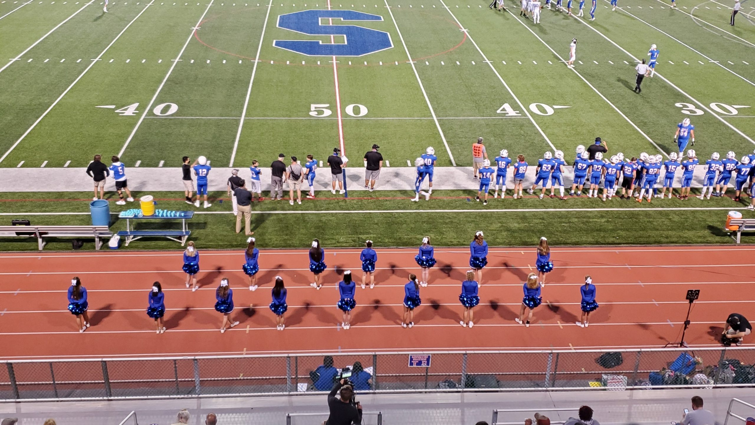 First home football game – players and cheerleaders!!