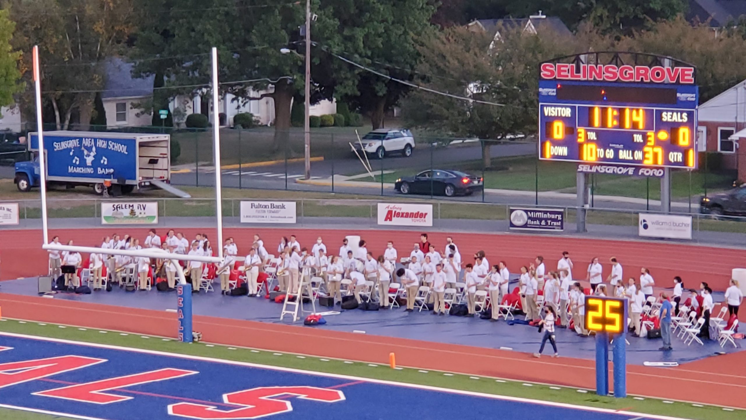 First home football game vs Shamokin – Band in the end zone!