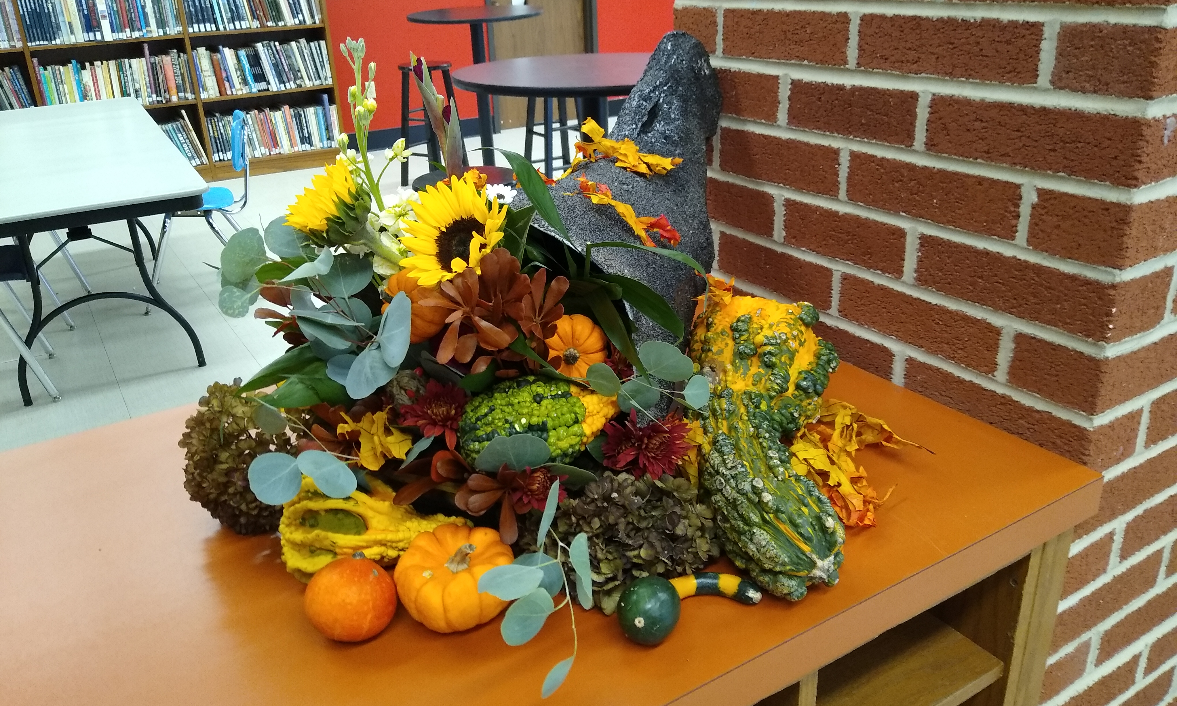 Cornucopia display created by students in the Floriculture class and made entirely of natural materials.