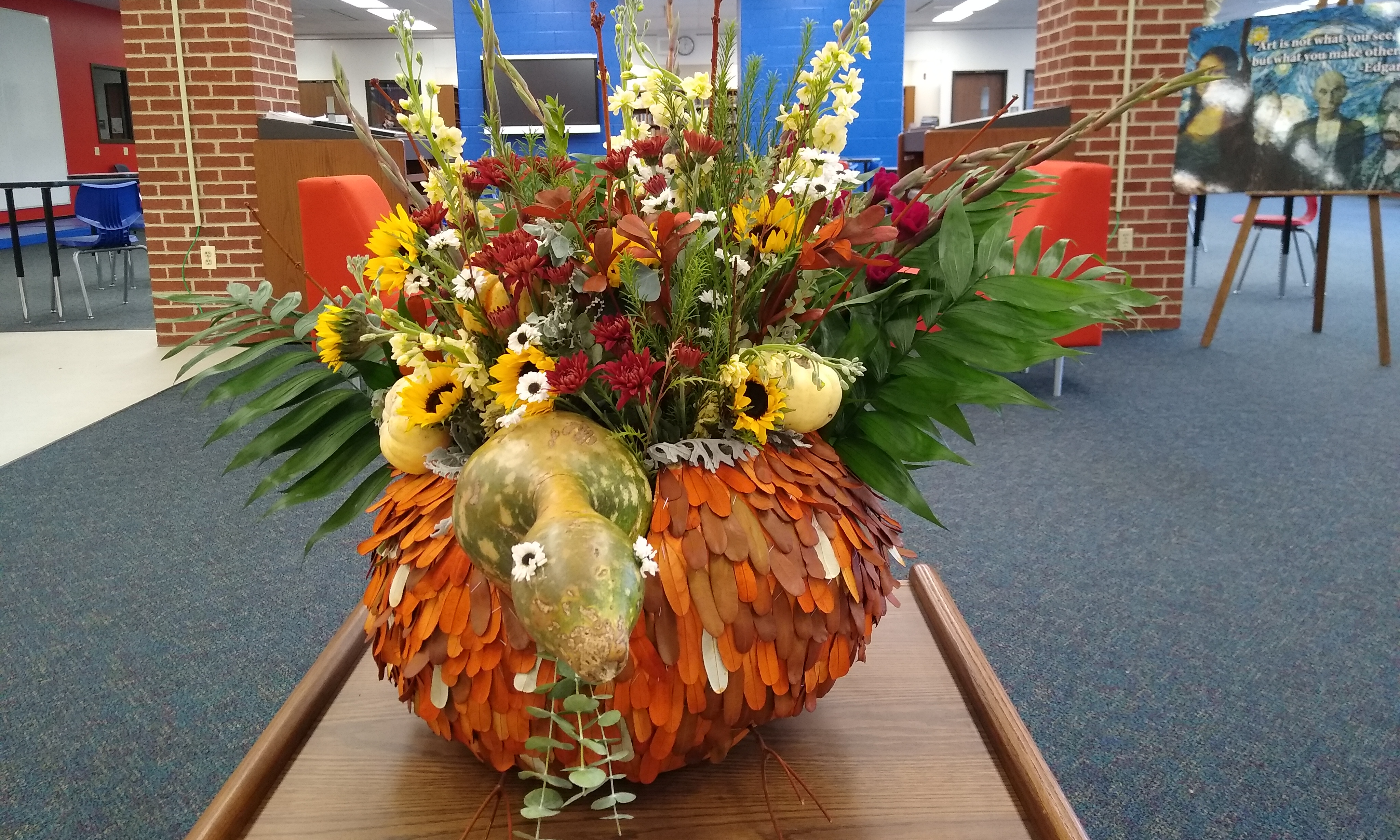 Thanksgiving turkey display created by Floriculture class students and made entirely of natural materials.