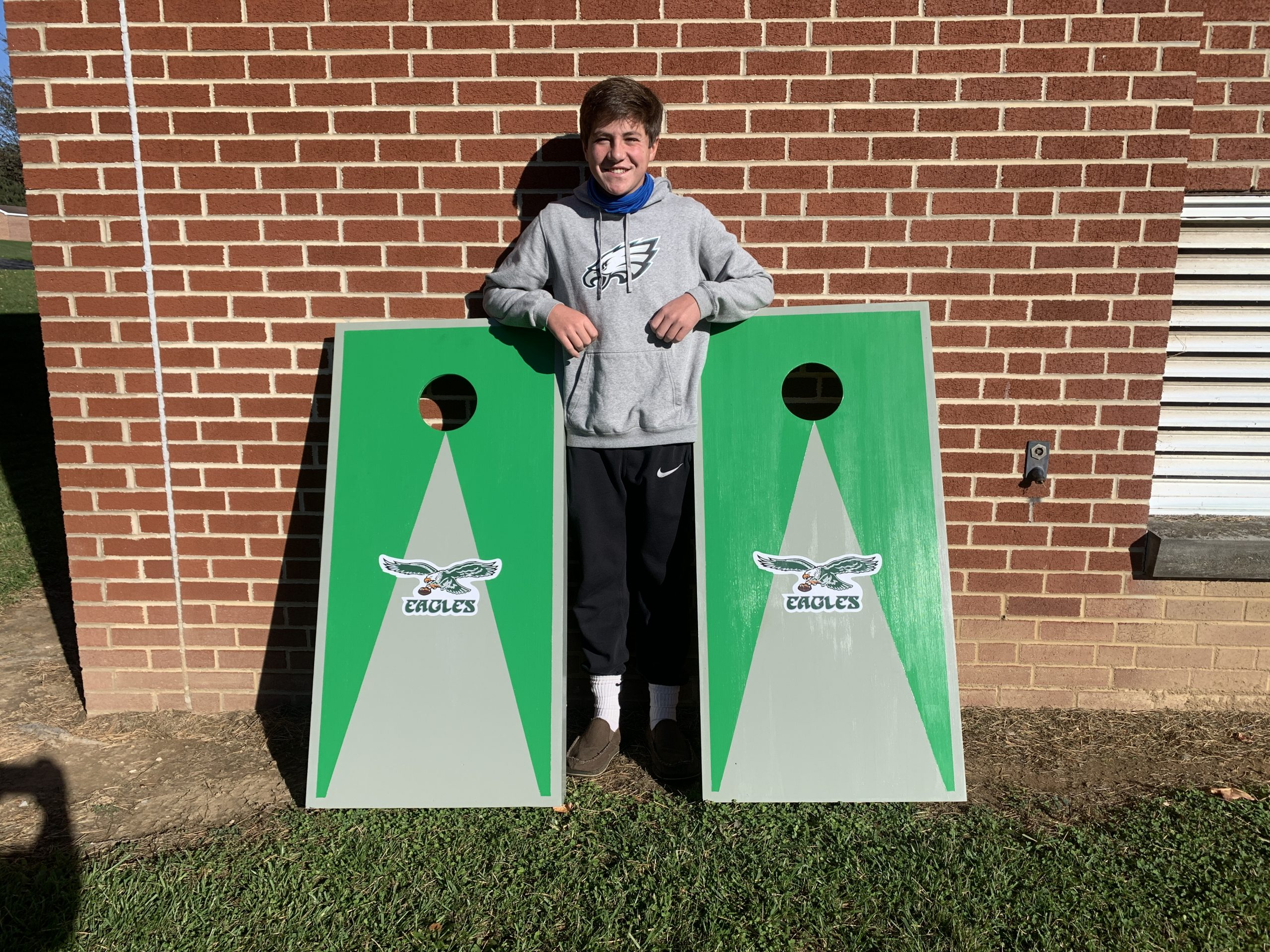 Joey Hoover's Cornhole Boards he built in Mr. Aument's Advanced Materials class