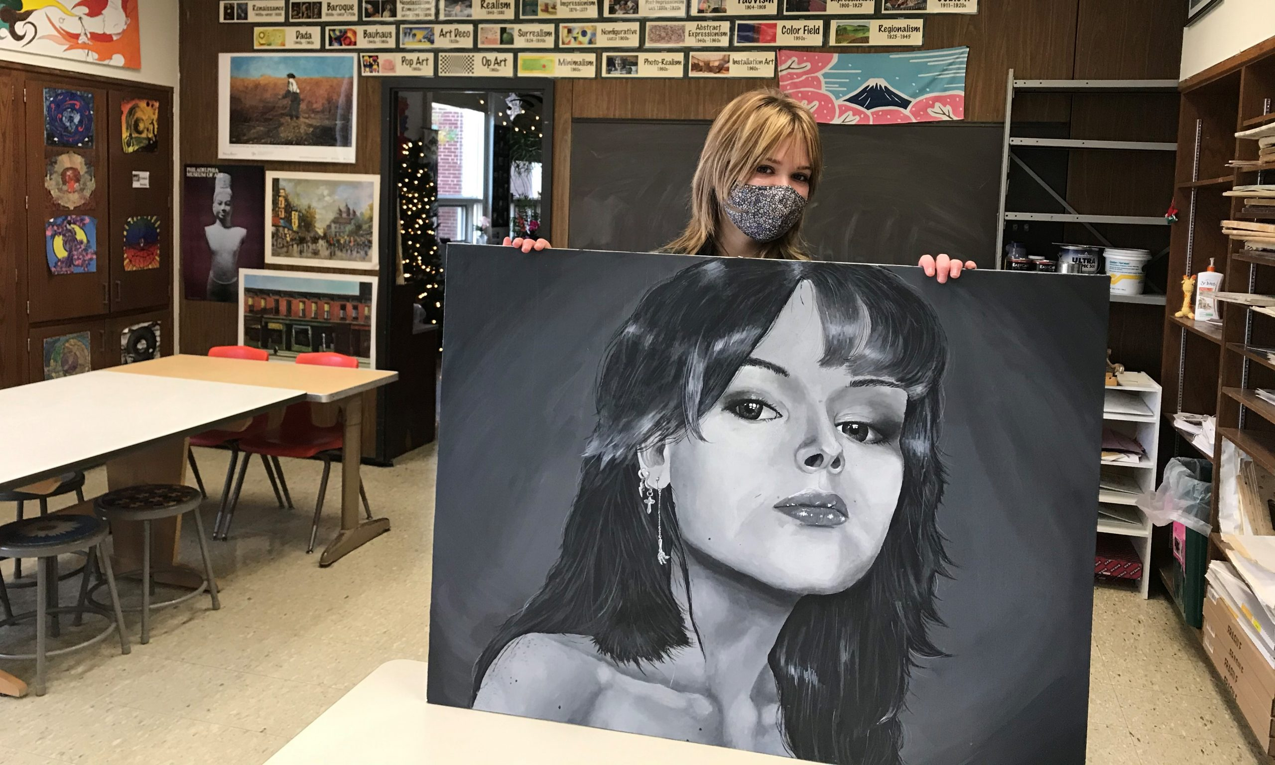 Sydney Bower's Self Portrait from Advanced Senior Art Class