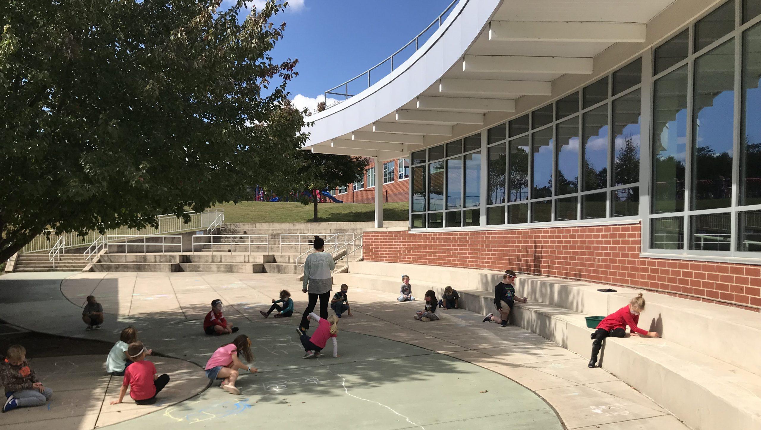 Elementary students enjoy using the amphitheater