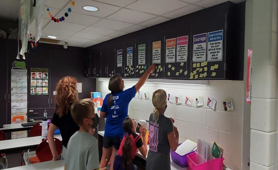Mr. Ferriero and Mrs. Debo Students Determining the Theme for Stories They Have Read