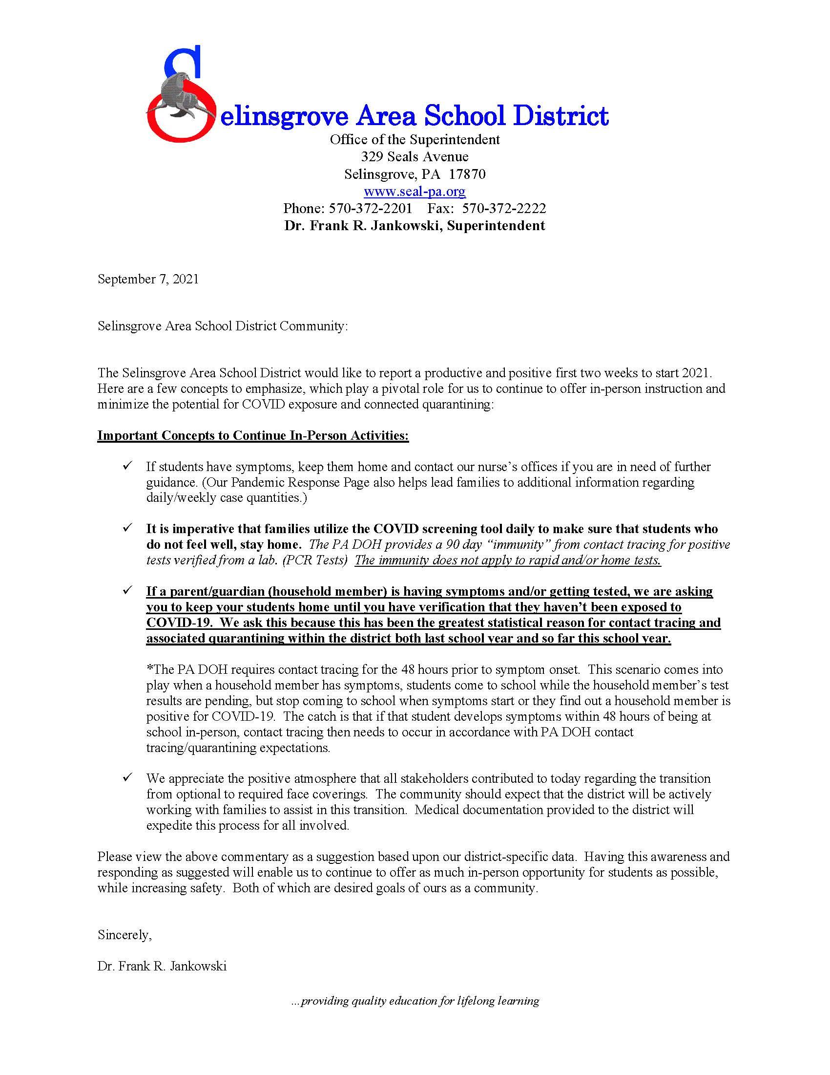 SASD Community Update – 9/7/2021